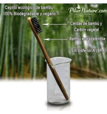 Cepillo  dental Bambú BIO,  Carbón Vegetal, Pilar Nature