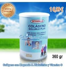 Colágeno con Magnesio, ácido hialurónico y vitamina C, en polvo (soluble) sabor NEUTRO, Plus 360 g. Integralia