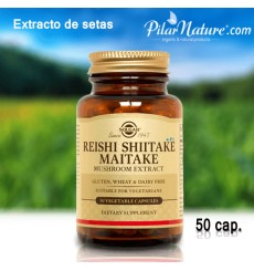 Reishi Shitake Maitake, Solgar,50 cápsulas, Pilar Nature