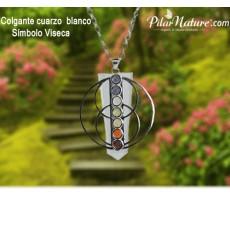 Colgante Cuarzo blanco símbolo Viseca Plata con minerales